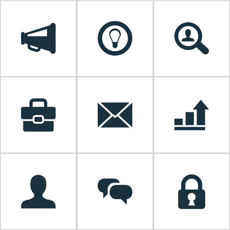 Vector Illustration Set Of Simple Job Icons. Elements Magnifier, Anonymous, Bulb And Other Synonyms Protected, Chatting And Distribution. Imagens - 76639196