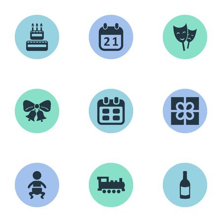 벡터 일러스트 레이 션 간단한 축 하 아이콘의 집합입니다. 요소 음료, 제과, 유아 및 기타 동의어 유아, 역사 및 음료.
