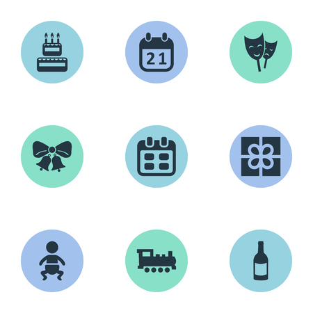 Vector Illustration Set Of Simple Celebration Icons. Elements Beverage, Confectionery, Infant And Other Synonyms Infant, History And Beverage.