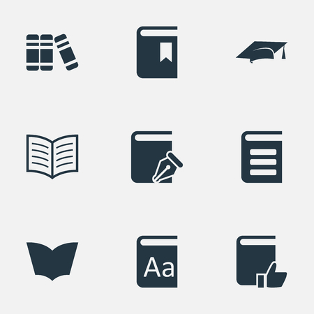Vector Illustration Set Of Simple Education Icons. Elements Sketchbook, Academic Cap, Reading And Other Synonyms Recommended, Literature And Bookmark.