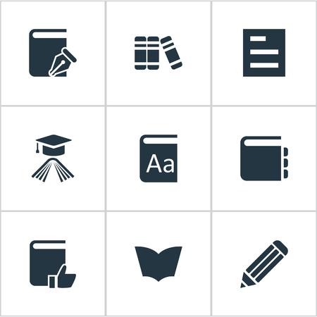単純な知識アイコンのベクター イラスト セット。要素のペン、卒業の帽子、読書や他の類義語の学問を推奨ペンとメモ帳。