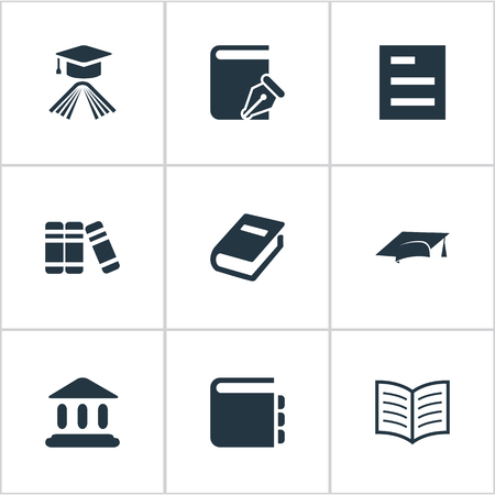Vector Illustration Set Of Simple Knowledge Icons. Elements Bookshelf, Notebook, Sketchbook And Other Synonyms Academy, Literature And Bookshelf.