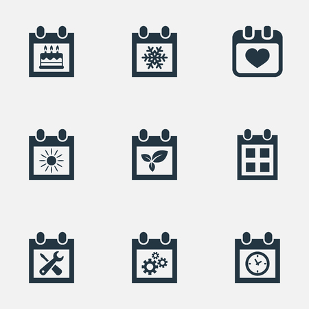 almanac: Vector Illustration Set Of Simple Date Icons. Elements Almanac, Planner, Snowflake And Other Synonyms Repair, Reminder And Special. Illustration