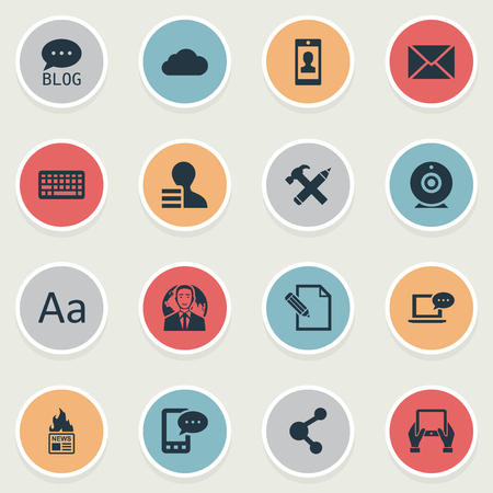 Vector Illustration Set Of Simple Newspaper Icons. Elements Site, Gazette, Notepad And Other Synonyms Globe, Camera And Forum. Illustration