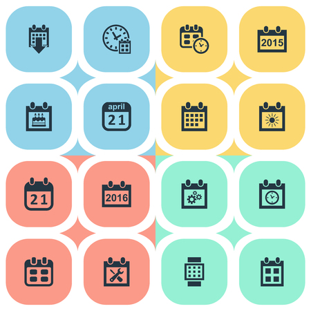 almanac: Vector Illustration Set Of Simple Calendar Icons. Elements Agenda, Annual, Planner And Other Synonyms Watch, Special And Almanac.