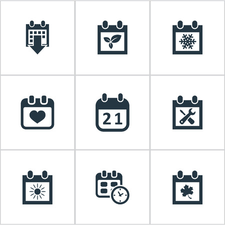 almanac: Vector Illustration Set Of Simple Calendar Icons. Elements Leaf, Plant, Heart And Other Synonyms Date, Almanac And Leaf.