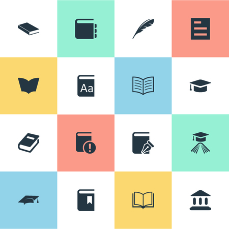 Vector Illustration Set Of Simple Reading Icons. Elements Book Cover, Graduation Hat, Plume And Other Synonyms Bookmark, Sketchbook And Reading. Ilustrace