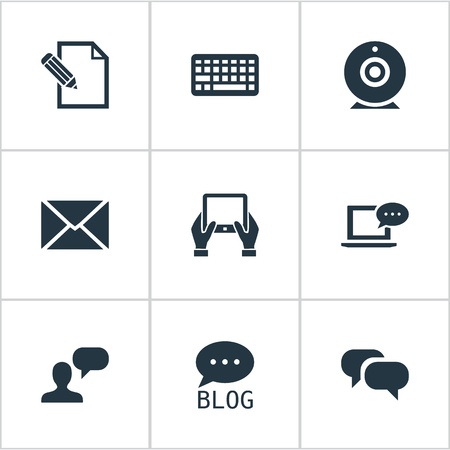 Vector Illustration Set Of Simple User Icons. Elements Keypad, Broadcast, Site And Other Synonyms Web, Coming And Conversation. Ilustrace