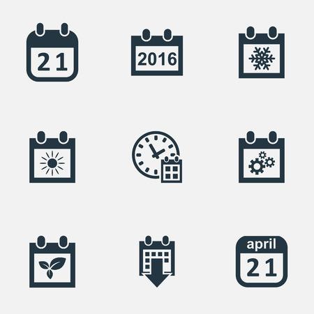 almanac: Vector Illustration Set Of Simple Time Icons. Elements 2016 Calendar, Snowflake, Almanac And Other Synonyms Sun, Almanac And Calendar.