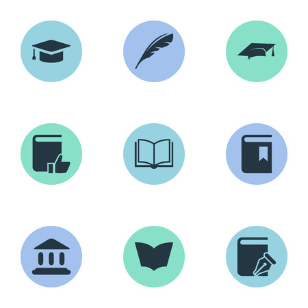 white feather: Vector Illustration Set Of Simple Reading Icons. Elements Blank Notebook, Library, Academic Cap And Other Synonyms Graduation, Hat And Notebook.