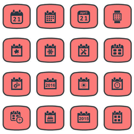 almanac: Vector Illustration Set Of Simple Date Icons. Elements Intelligent Hour, Almanac, Date Block And Other Synonyms Special, Sun And Repair. Illustration