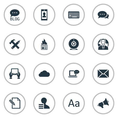 Vector illustratie Set van eenvoudige bloggen pictogrammen. Elementen Kladblok, Cedilla, toetsenbord en andere synoniemen Cloud, alfabet en profiel.