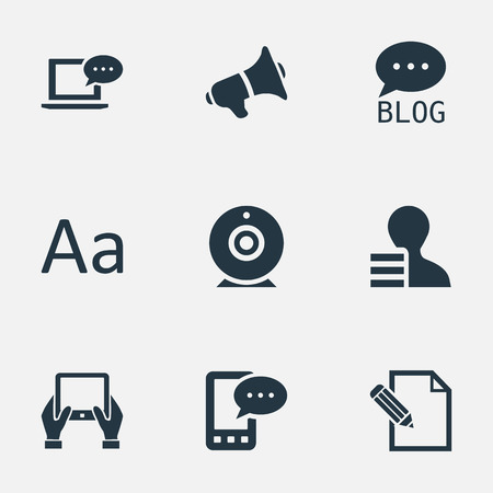 Vector Illustration Set Of Simple User Icons. Elements E-Letter, Cedilla, Loudspeaker And Other Synonyms E-Letter, Forum And Laptop. Ilustrace
