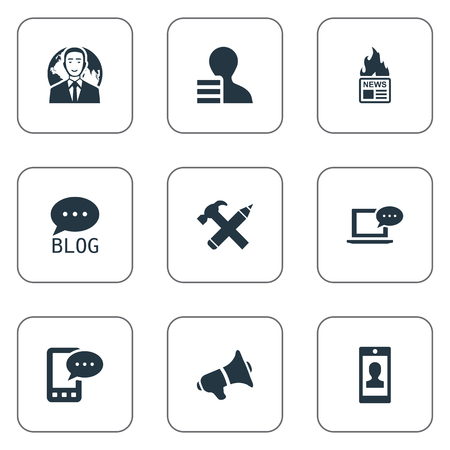 advantages: Vector Illustration Set Of Simple Newspaper Icons. Elements Site, Gain, Profile And Other Synonyms Forum, News And Hammer. Illustration