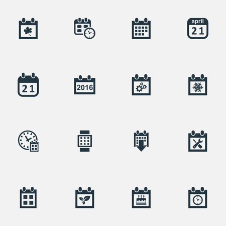 Vector Illustration Set Of Simple Calendar Icons. Elements Deadline, Date Block, History And Other Synonyms Event, Time And Annual.