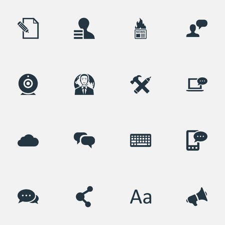 Vector Illustration Set Of Simple Blogging Icons. Elements International Businessman, Broadcast, Document And Other Synonyms Gossip, Overcast And Message.