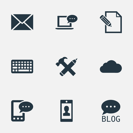 Vector Illustration Set Of Simple Blogging Icons. Elements Document, Keypad, Post And Other Synonyms Smartphone, Missive And Site.