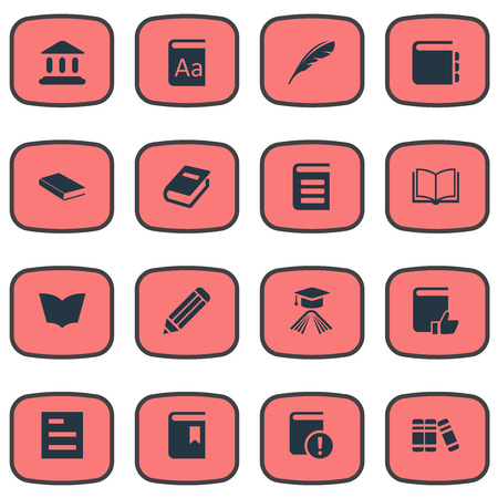 Vector Illustration Set Of Simple Reading Icons. Elements Blank Notebook, Pen, Tasklist And Other Synonyms Book, Reading And Favored.