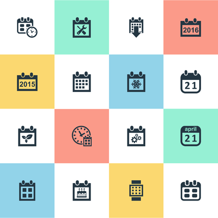 almanac: Vector Illustration Set Of Simple Calendar Icons. Elements Event, Almanac, Plant And Other Synonyms Calendar, Event And Reminder.