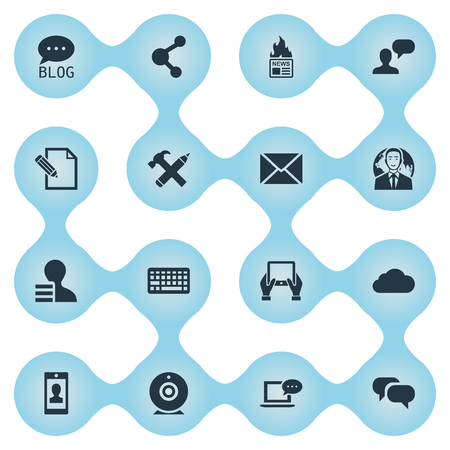 Vector Illustration Set Of Simple Blogging Icons. Elements Overcast, Profile, Post And Other Synonyms Gain, Overcast And Globe.