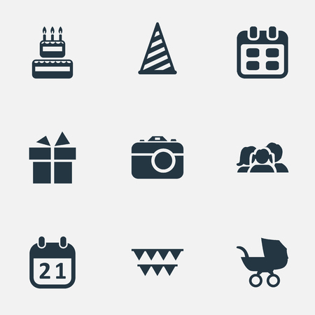 Vector Illustration Set Of Simple Holiday Icons. Elements Ribbon, Special Day, Baby Carriage And Other Synonyms Prize, Photography And Baby.