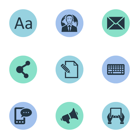 Vector Illustration Set Of Simple Blogging Icons. Elements Loudspeaker, Document, E-Letter And Other Synonyms Keypad, Phone And Alphabet. Illustration