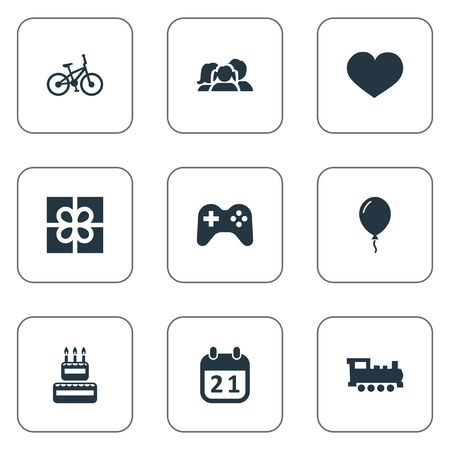Vector Illustration Set Of Simple Birthday Icons. Elements Game, Train, Domestic And Other Synonyms Family, Heart And Calendar.