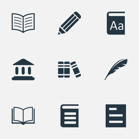 Vector Illustration Set Of Simple Reading Icons. Elements Encyclopedia, Book Page, Bookshelf And Other Synonyms Book, Encyclopedia And List.
