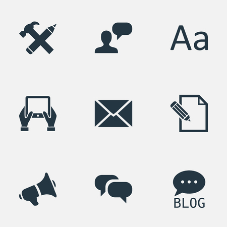 Vector Illustration Set Of Simple User Icons. Elements Man Considering, Site, Document And Other Synonyms Gossip, Notepad And Conversation.