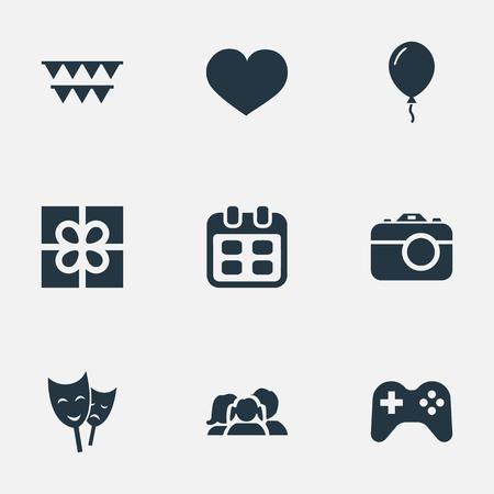 簡単なお祝いアイコンのベクター イラスト セット。要素] ボックス、ゲーム、エアロスタット類義語相手の気持ちとボックス。