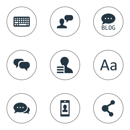 Vector Illustration Set Of Simple Newspaper Icons. Elements Profile, Share, Site And Other Synonyms Blog, Keypad And Earnings. Çizim