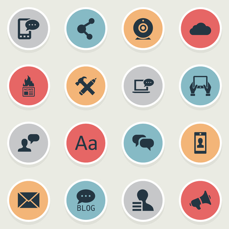 Vector Illustration Set Of Simple User Icons. Elements Post, Share, Overcast And Other Synonyms Cloud, Alphabet And Post. Illustration