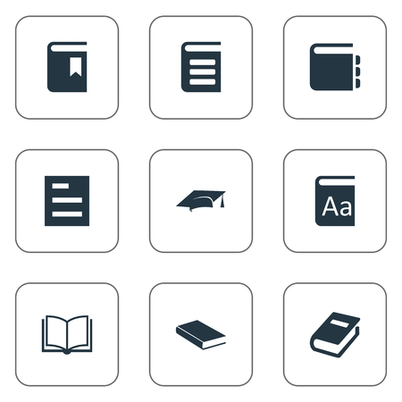 Vector Illustration Set Of Simple Education Icons. Elements Encyclopedia, Blank Notebook, Alphabet And Other Synonyms Alphabet, Hat And Graduation.