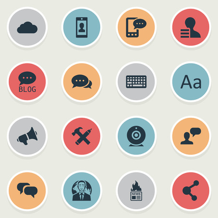 Vector Illustration Set Of Simple Blogging Icons. Elements Repair, Keypad, Profile And Other Synonyms Repair, Smartphone And Network.