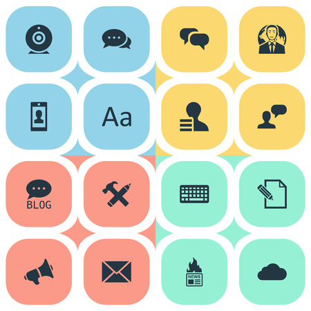 Vector Illustration Set Of Simple Blogging Icons. Elements Keypad, Site, Post And Other Synonyms Post, Alphabet And Megaphone.