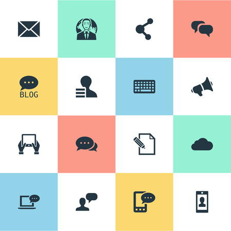 Vector Illustration Set Of Simple Blogging Icons. Elements Keypad, International Businessman, Site And Other Synonyms Relation, Conversation And Keypad.