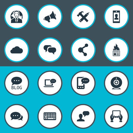 Vector Illustration Set Of Simple User Icons. Elements Argument, Broadcast, Laptop And Other Synonyms Share, Web And Camera. Ilustração