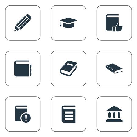Illustration vectorielle définie des icônes de livres simples. Éléments Stylo, Encyclopédie, Bloc-notes et autres synonymes, Encyclopédie, Important et Journal. Banque d'images - 76680068