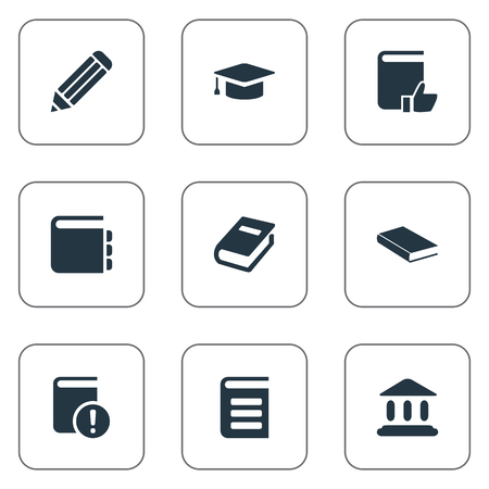 Vector Illustration Set Of Simple Books Icons. Elements Pen, Encyclopedia, Notebook And Other Synonyms Encyclopedia, Important And Journal.