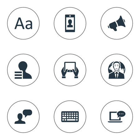 Vector Illustration Set Of Simple Blogging Icons. Elements Man Considering, Keypad, Loudspeaker And Other Synonyms Tablet, International And Profit. Ilustrace