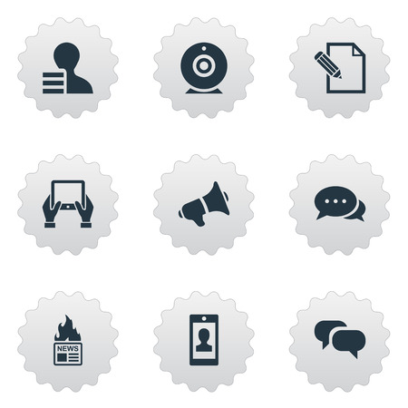 Vector Illustration Set Of Simple User Icons. Elements Gossip, Broadcast, Gain And Other Synonyms Loudspeaker, Smartphone And News. Ilustrace