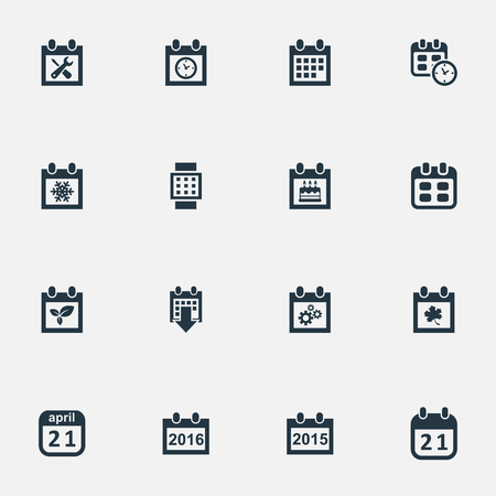 Vector Illustration Set Of Simple Date Icons. Elements Remembrance, Annual, Plant And Other Synonyms Agenda, Almanac And Snowflake. Illustration