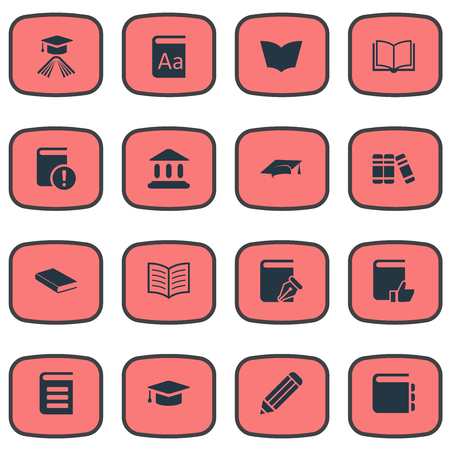 Vector Illustration Set Of Simple Books Icons. Elements Journal, Academic Cap, Library And Other Synonyms Important, Cap And Recommended. Ilustrace