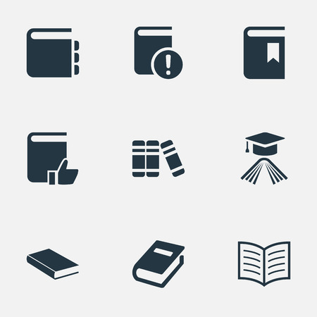 Vector Illustration Set Of Simple Books Icons. Elements Bookshelf, Book Page, Graduation Hat And Other Synonyms Hat, Notebook And Bookshelf.