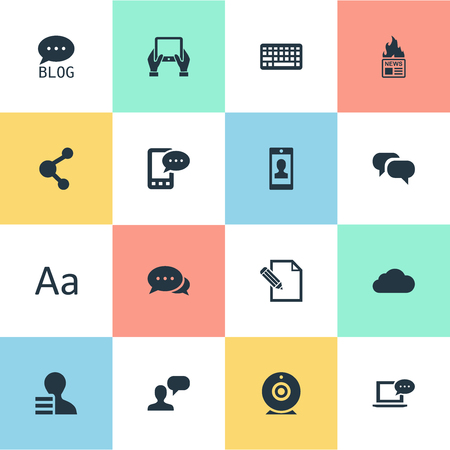 Vector Illustration Set Of Simple User Icons. Elements Argument, Gain, Keypad And Other Synonyms Camera, Laptop And Relation. Ilustrace
