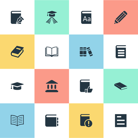 computer education: Vector Illustration Set Of Simple Education Icons. Elements Library, Bookshelf, Alphabet And Other Synonyms Notepad, Academy And Note.