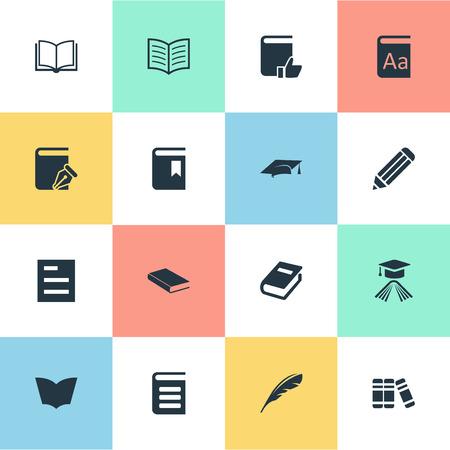 벡터 일러스트 레이 션 간단한 책 아이콘의 집합입니다. 요소 노트북, 스케치북, 빈 노트북 및 다른 동의어 연필, 모자와 스케치 북입니다.
