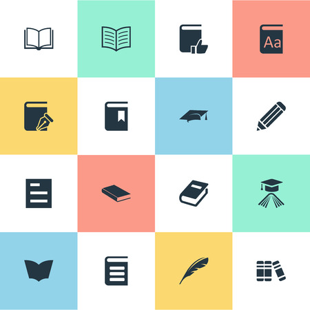 Vector Illustration Set Of Simple Books Icons. Elements Notebook, Sketchbook, Blank Notebook And Other Synonyms Pencil, Hat And Sketchbook.