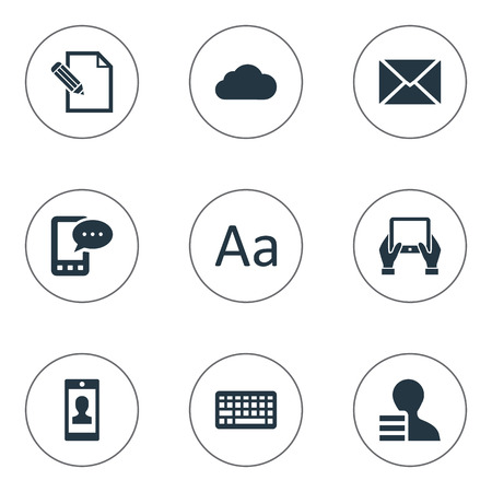 Vector Illustration Set Of Simple User Icons. Elements Overcast, Post, Cedilla And Other Synonyms Cedilla, Notepad And Sky.