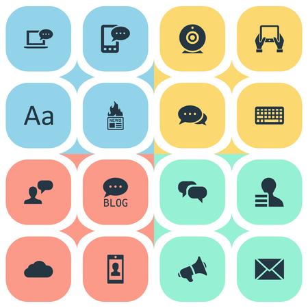벡터 일러스트 레이 션 간단한 사용자 아이콘의 집합입니다. 요소 키패드, 학보, 프로필 및 기타 동의어 랩탑, Missive And Earnings. 일러스트